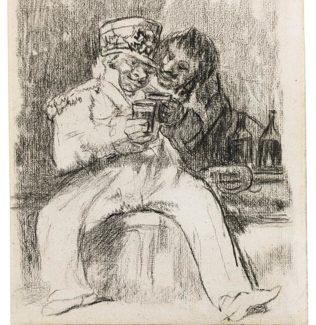 Francisco de Goya, 'A french soldier with a drinking companion'