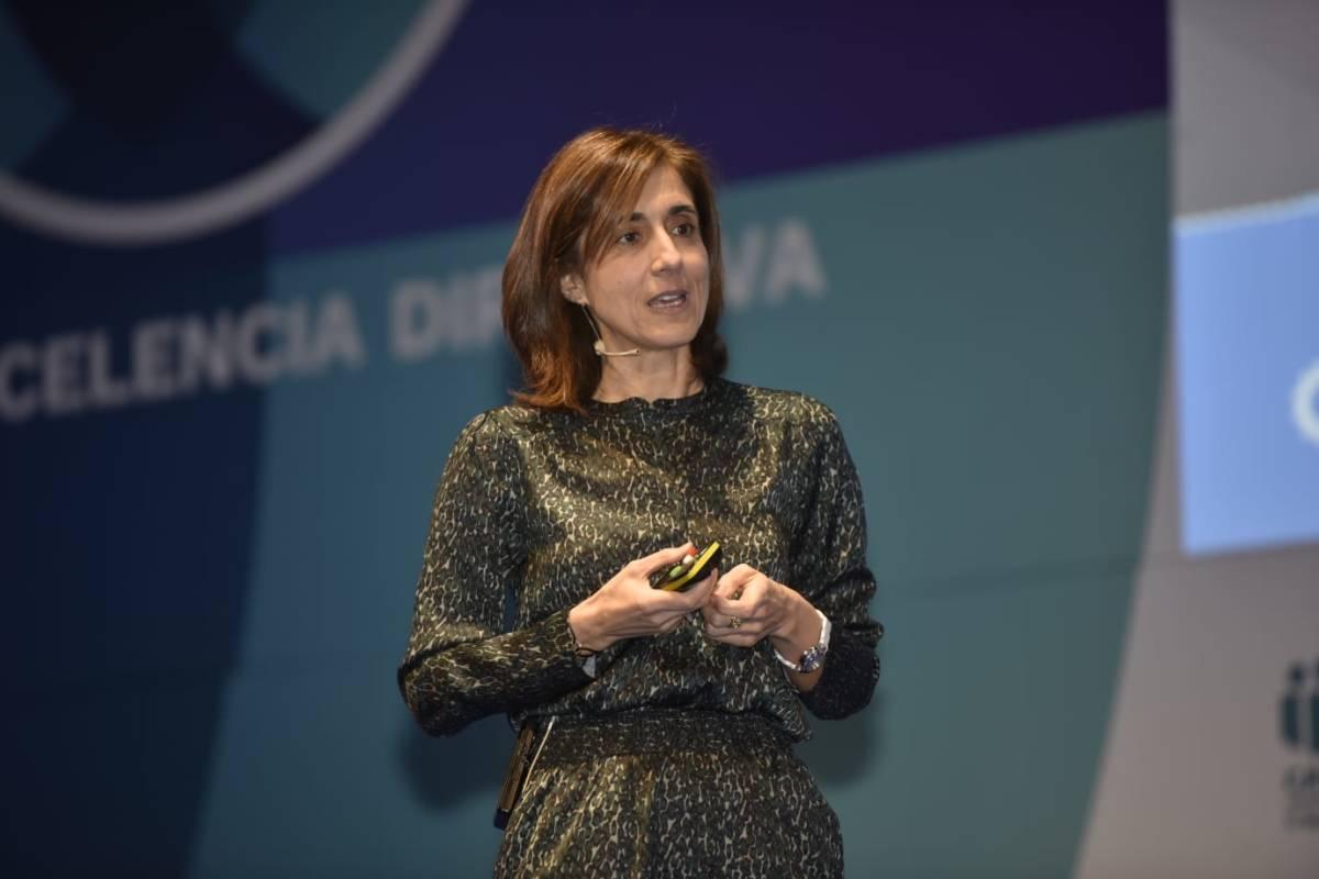 Pilar López, presidenta de Microsoft España, durante su conferencia